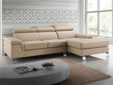 Canapé d'angle cuir MISHIMA - Taupe - Angle droit