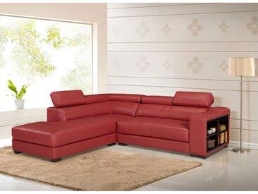 Canapé d'angle cuir LEEDS - Rouge - Angle gauche