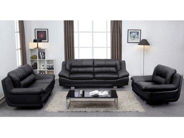 Canapé 3+2+1 places en cuir THOMAS - Noir
