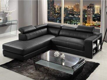 Canapé d'angle cuir LEEDS - Noir - Angle gauche