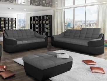 Canapé 3+2 places en tissu et simili FAREZ - Bicolore gris et noir