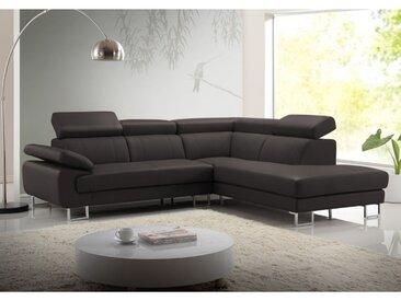Canapé d'angle cuir COLISEE - Marron - Angle droit