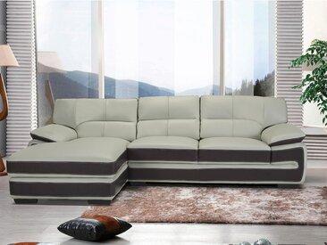 Canapé d'angle en cuir VANYA - Gris perle et bandes chocolat - Angle gauche