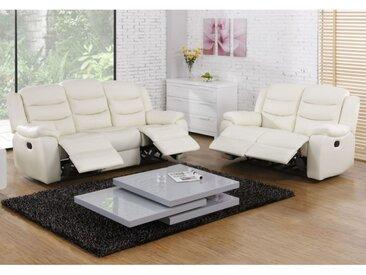Canapé 3+2 places relax en cuir de buffle PLITON - Ivoire