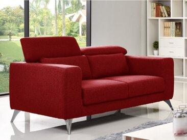 Canapé 2 places en tissu AKWA - rouge