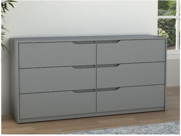 Commode LUCILE II - 6 tiroirs - MDF - Gris