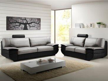 Canapé 3+2 places cuir CALIFORNIA II - Bicolore noir et gris