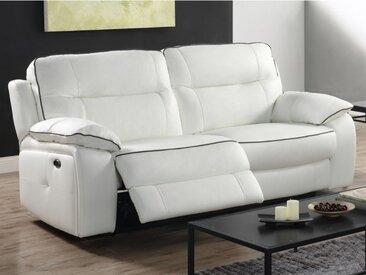 Canapé 3 places relax électrique en cuir CATANE - Blanc et passepoil gris