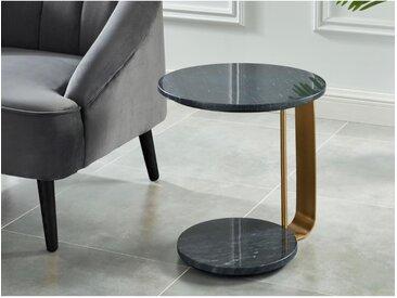 Table d'appoint MIDOUNE -  Marbre et métal - Noir et Doré