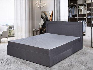 Ensemble boxspring complet tête de lit + sommiers avec tiroirs + matelas MOUGINS de DREAMEA - 160x200cm