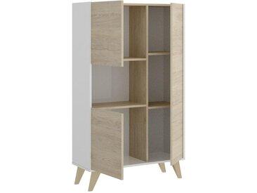 Buffet haut KOLYMA - 3 portes & 1 niche - Coloris : Chêne & Blanc