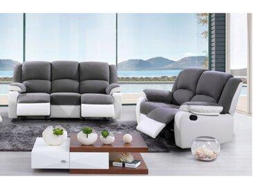 Canapé 3+2 places relax en microfibre et simili  BILSTON II - Gris et blanc