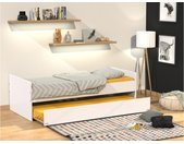 Lit gigogne NOLANE - 2x90x190cm - Laqué mat blanc
