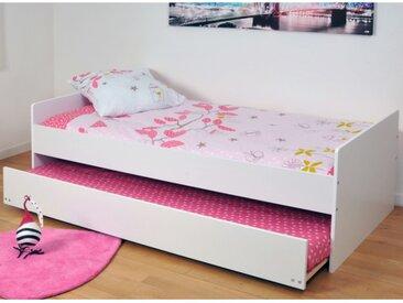 Lit gigogne NOLANE - 90x190cm - Laqué mat blanc