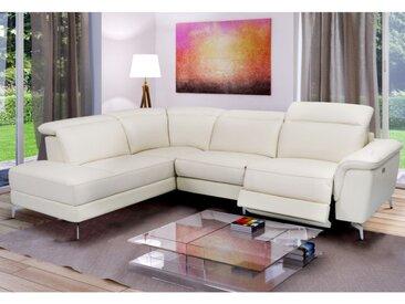 Canapé d'angle relax électrique en cuir OLBIA - Blanc - Angle gauche