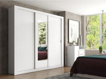 Armoire avec miroir ROXANE - 3 portes coulissantes - L. 220 cm - Blanc