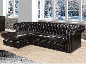 Canapé d'angle chesterfield BRENTON 100% cuir de buffle - Marron reflets châtains - Angle gauche