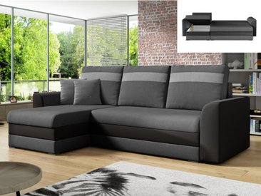 Canapé d'angle réversible et convertible GIANY en tissu et simili - Anthracite et bandes gris clair