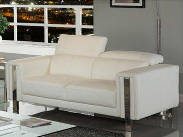Canapé 2 places en simili MAROUA - Blanc