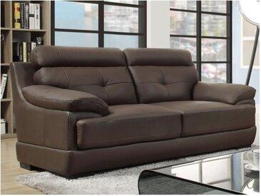 Canapé 2 places en cuir de buffle MANUELLA - Marron