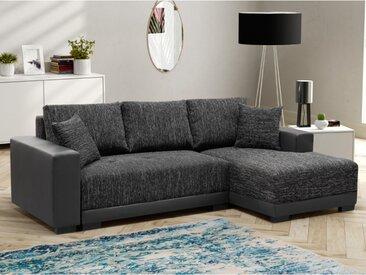 Canapé d'angle convertible en tissu et en simili JARED - Bicolore anthracite et noir - Angle droit