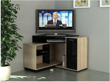 Meuble TV d'angle AMAEL avec rangements - Coloris chêne & noir