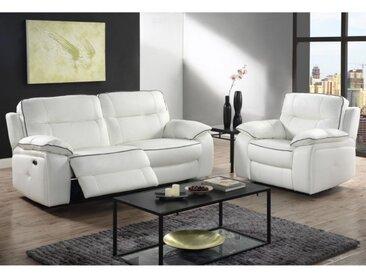 Canapé 3+1 places relax électrique en cuir CATANE - Blanc et passepoil gris
