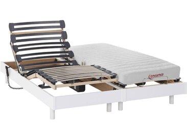 Lit électrique relaxation matelas accueil latex TYNDARE de DREAMEA - blanc - 2 x 90 x 200 cm