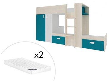 Lits superposés JULIEN - 2x90x190cm - Armoire intégrée - Blanc et bleu + matelas