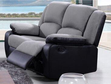 Canapé 2 places relax en microfibre et simili BILSTON II - Gris et noir