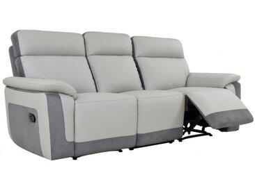 Canapé 3 places relax ANAFI en microfibre et simili - Gris clair et bandes anthracites