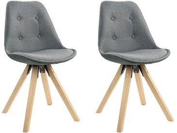 Lot de 2 chaises scandinaves ANEYA - Tissu & Pieds Hévéa - Gris clair