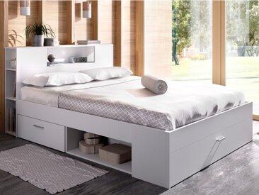 Lit LEANDRE avec tête de lit rangements et tiroirs - 160x200cm - Coloris : Blanc