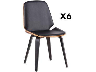 Lot de 6 chaises SANTAREM - Simili - Noyer et Noir