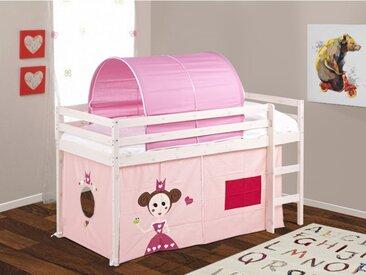 Lit princesse mi hauteur KATE avec rideaux et tunnel roses - 90*190cm - Pin Massif - Blanchi