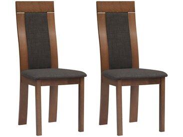 Lot de 2 chaises BELINDA - Hêtre et tissu - Coloris : Noyer et anthracite