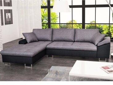Canapé d'angle en tissu ALLEGRI II - Bicolore noir/gris - Angle gauche