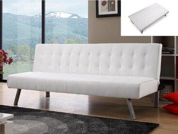 Canapé clic-clac GUILLAUME en simili - Blanc