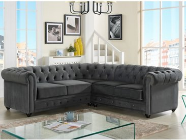 Canapé d'angle en velours CHESTERFIELD - Anthracite