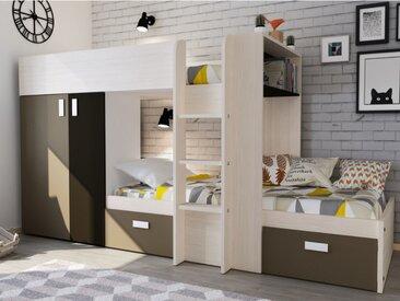 Lits superposés JULIEN - 2x90x190cm - Armoire intégrée - Pin blanc et marron