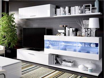 Mur TV LUGANO - avec rangements - LEDs - Coloris : Blanc