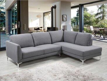 Canapé d'angle SELAK en tissu - Gris chiné - Angle droit