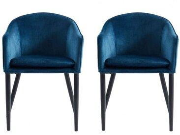 Lot de 2 chaises avec accoudoirs JONNA - Tissu effet velours - Bleu nuit