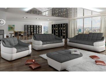Canapé 3+2+1 places en tissu et simili FAREZ - Bicolore gris et blanc