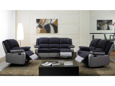 Canapé 3+2+1 places relax en microfibre et simili BILSTON II - Noir et gris