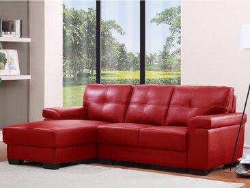 Canapé d'angle en cuir HAZEL - Rouge - Angle gauche
