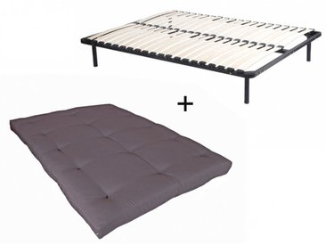 Ensemble cadre à lattes + futon 140x190cm - COTON traitement téflon - SHIVA de DREAMEA - Taupe