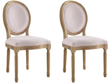Lot de 2 chaises LOUIS XVI - Velours - Coloris rose pâle