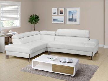 Canapé d'angle en cuir LITTORAL - Blanc- angle gauche