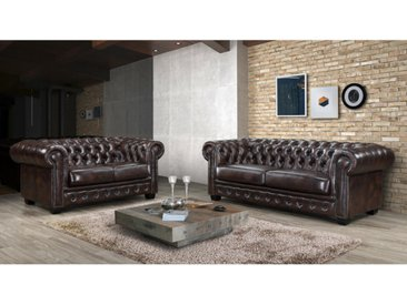 Canapé chesterfield 3+2 places BRENTON 100% cuir de buffle - Marron reflets châtains